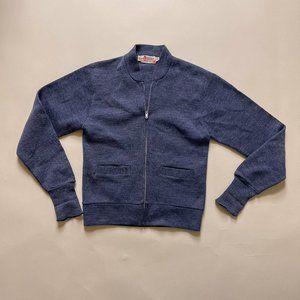 70s Vintage Sportswear Blue Wool Zip Up Cardigan